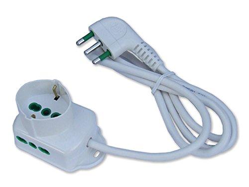 Fanton 42105 meervoudige stekkerdoos Triax Italo/Duits 2P+T 16 A in kop 2 stopcontacten, Italiaans, met kabel, wit, 1,5 m