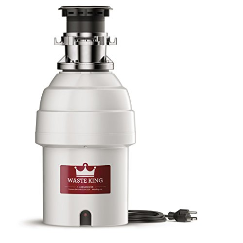 Waste King L-8000TC Controlled Activation 1 HP Garbage Disposal with Safer Controlled Grinding, Power Cord Included , White