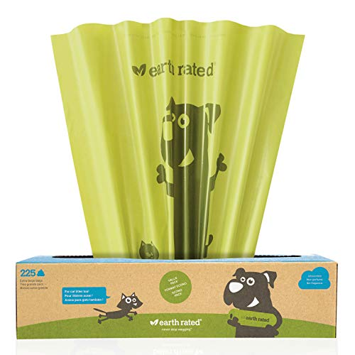 Earth Rated Extra Large Dog Poop Bag  225 Doggie Waste Bags For Large Dogs | Extra Thick Unscented Doggy Bags Measure 11x13 inches with LeakProof Security
