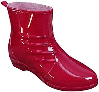 [MITSUHA] レディース レインシューズ 防水雨靴 ショート丈 スクエアヒール