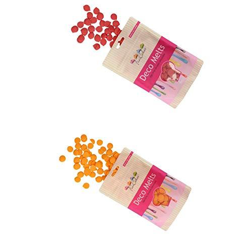 FunCakes - Decor Melts - 250g Ideal para Hacer gotitas o lineas sobre Bombones, piruletas o Cubrir Galletas, Frutas, y Mucho más!- Pack de Colores (Naranja y Rojo)