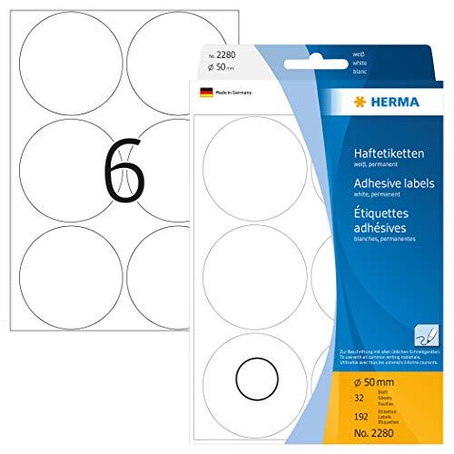 HERMA 2280 Vielzweck-Etiketten / Farbpunkte rund (Ø 50 mm, 32 Blatt, Papier, matt) selbstklebend, permanent haftende Markierungspunkte zur Handbeschriftung, 192 Klebepunkte, weiß