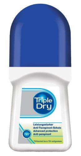 Triple Dry Anti-Transpirant Roll-On, 50 ml, Deoroller gegen starkes Schwitzen, antibakterielles Deodorant für 72 h Schutz, parfümfreies Antiperspirant