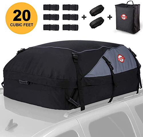 Adakiit Car Roof Bag Cargo Carrier, 20 Cubic Feet Waterproof Heavy Duty Car Roof Top Carrier with/Without Rack, Suitable for All Vehicles Cargo Bag Storage Luggage + 8 Reinforced Straps + Packing Bag