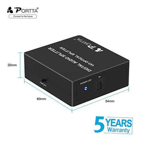 Portta Toslink 1x3 Splitter/ 3 Port SPDIF Audio Splitter 1:1 Transmission Support LPCM2.0/DTS/Dolby Digital for Apple TV/Xbox/Blu-ray player/Speakers/DVD Player with 4pcs 1.8m toslink cable