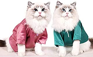 Yu-Xiang Silk Cat Suit Cooling Cats Cooling Costume Pet Clothes Kitten T-Shirt Breathable Hoodies on Summer (L, Pink)