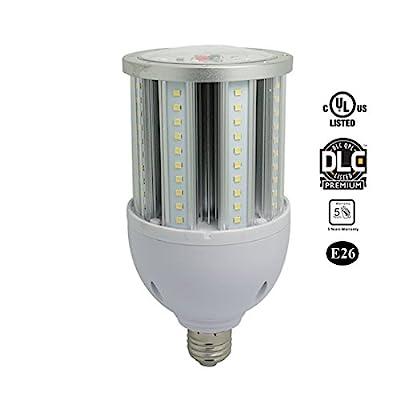 MASSIMUM LED Corn Bulb,Metal Halide/HPS/HID Equivalent,Bright,E26/E39 Mogul Screw Base,Clear Cover 360 Degree,UL/DLC,Garage Parking Lot Warehouse Factory HighBay Street Porch Backyard Post Light