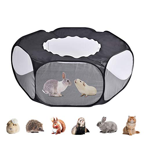 Small Animal Cage Tent with Top Cover, Breathable & Transparent Anti Escape Pet Fence Accessories Indoor/Outdoor Portable Foldable Playpen for Guinea Pigs Hamster Chinchillas Hedgehogs Gerbils cats…