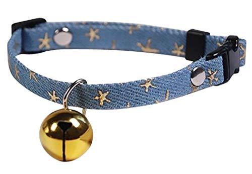 GJTr 猫 ねこ 用 首輪 鈴 付き バックル 式 サイズ 調節 可能 星 柄 ブルー × ゴールド