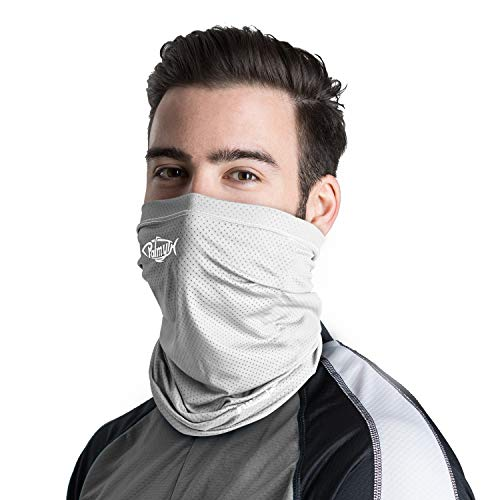 Palmyth Neck Gaiter Fishing Mask Bandana Sun Wind Dust Protection UV UPF 50+ Camo Headwear Balaclava Magic Scarf for Men Women Hunting, Cycling, Motorcycling, Running (Light Gray)