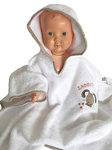 Baby Kapuzencape, Poncho, Kapuzentuch, Bademantel von Castejo mit niedlicher Stickerei auf der Brust, mit Einfassband, Einheitsgröße bis zu einem Alter von ca. 2 Jahre