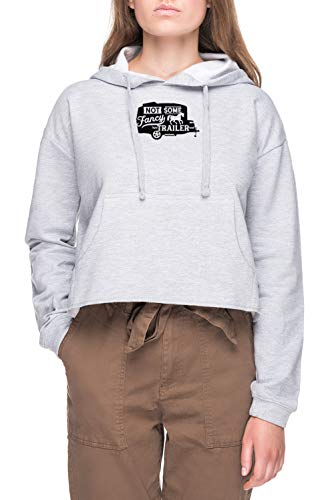 Not Some Fancy Horse Trailer - Basecamp Mujer Sudadera con Capucha De Crop Gris Women's Crop Hoodie