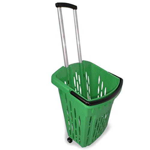 GERSO - Einkaufstrolley Einkaufswagen 40 Liter Einkaufskorb mit Rollen grün