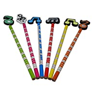 Music Themed Pencils with Cute Cartoon Musical Instruments Patterns Artist Pencil set (Music Note)