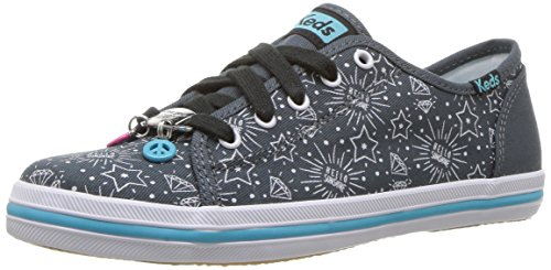 Keds Girls' Kickstart Charm Sneaker, Grey/White, 2 Medium US Little Kid