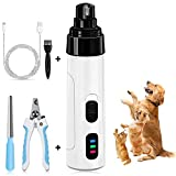 MGahyi Dog Nail Grinder, 2-Speed Electric Pet Nail Trimmer, Low Noise Dog & Cat Nail Clippers, 3 Ports Rechargeable Painless Pet Grooming Trimming Tool for Small Medium Large Dogs and Cats