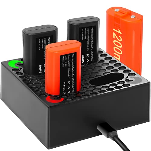 Xbox One Controller Battery Pack - with Battery Charger & 4x1200mAh Rechargeable Batteries, 2000 Charge Cycle for Xbox One/Xbox One X/Xbox One S/Xbox Series X/Xbox Elite Controllers