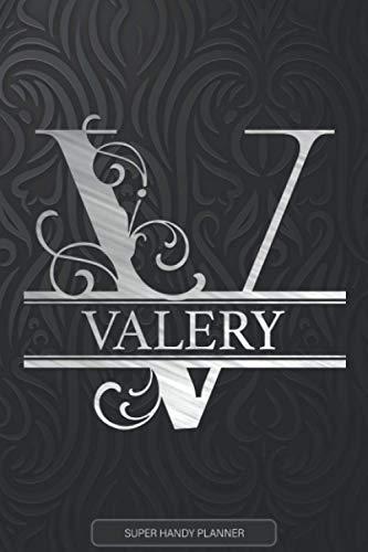Valery: Silver Monogram Letter V The Valery Name - Valery Name Custom Gift Planner Calendar Notebook Journal