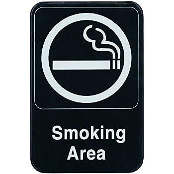 サインプレート 喫煙場所 Smoking Area 15cm x 23cm ブラック [並行輸入品]