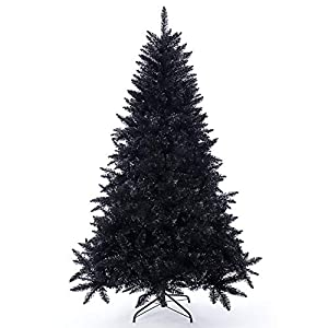 Artificial Christmas Tree Classic Xmas Pine Tree with Solid Metal Stand 5/6/7 FT Unlit (Black)