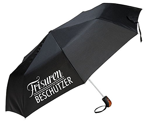 Gilde Regenschirm / Taschenschirm / Knirps mit lustigem Spruch zum Wetter - 3 Farben und 6 Sprüche zur Auswahl (Frisuren Beschützer schwarz)