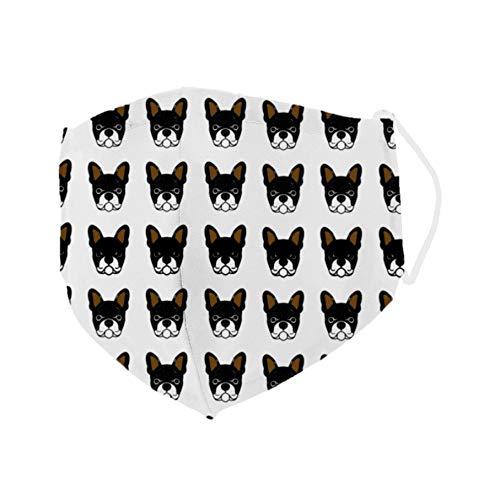 Mascarilla higiénica cómoda y reutilizable Bulldog: fabricada a mano con tela hidrófuga antibacteriana. Diseño original de perro. Ajuste nariz invisible y sujección en orejas. Mejora tu look