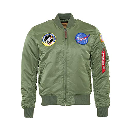 Alpha Industries Uomo MA1 NASA VF Bomber Verde Salvia 2XL