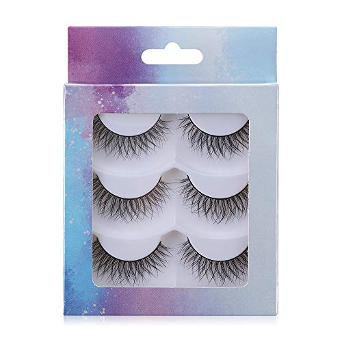 FFAN False Eyelashes, 3 Pairs Handmade Cruelty-free Wispies Fluffies Soft Natural Long 3D Faux Mink Eyelashes Extension Eye Makeup Tool(X3-02)