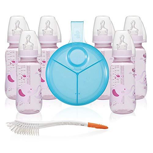 NIP Set de biberons en polypropylène pour fille - biberon standard de 250 ml / taille dès la naissance - avec plaquettes de fermeture - doseur de lait et brosse