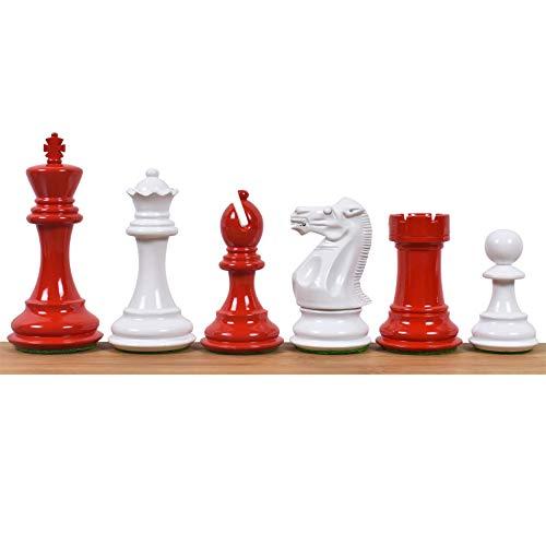RoyalChessMall: Juego de 4 Piezas de ajedrez en Madera Pintada, roja y Blanca, Que pesan Pro Staunton -4 Queens