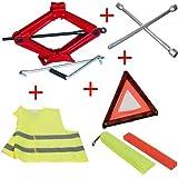 Para Ford Kit para coche Gato pantógrafo gato gato + llave de cruz para pernos + triángulo de emergencia + funda fluorescente
