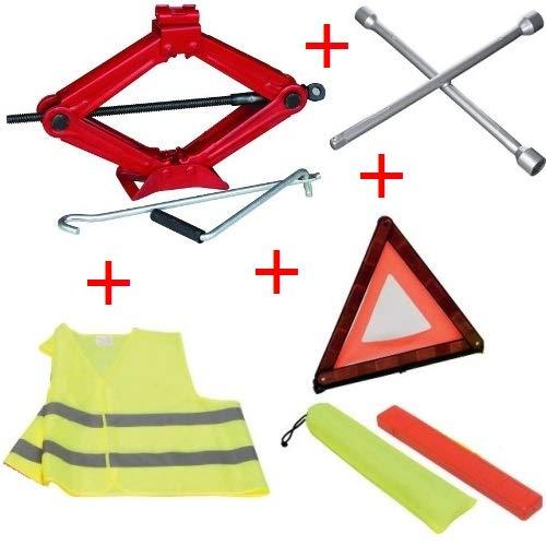 per Jeep KIT d'urgence Article pour Voiture CRIC en Acier+Cross Key+Triangle+Fluo Jacket Tous APPROUVÉS Assistance ROUTIÈRE