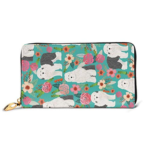 Old English Sheepdog Florals Cute Dogs Wallets for Men Women Long Leather Checkbook Card Holder Purse Zipper Buckle Elegant Clutch Ladies Coin Purse