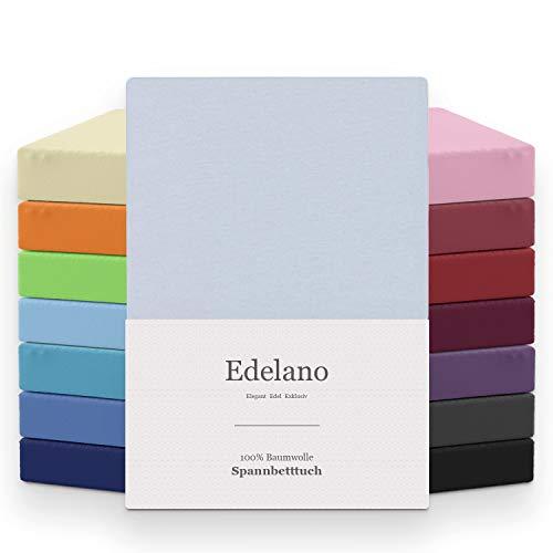 MELUNDA - Lenzuolo con Angoli Matrimonale 180x200 / 200x200 cm - Azzurro - 100% Coton -...