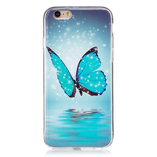 ISAKEN Compatibile con iPhone 6 /iPhone 6S Custodia, Agganciabile Luminosa Cover Case con Lampeggiante Ultra Sottile Morbido TPU Cover Rigida Gel Silicone Protettivo Custodia - Glitter Farfalle
