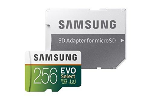 Samsung EVO Select 256 GB microSD 100MB/s, Geschwindigkeit, Full HD & 4K UHD Speicherkarte inkl. SD-Adapter für Smartphone, Tablet, Action-Kamera, Drohne und Notebook