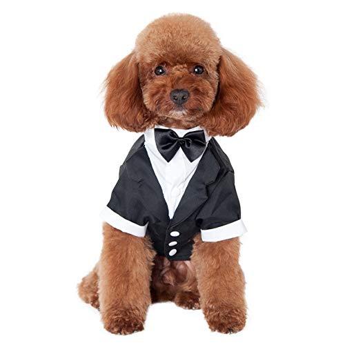 PUBAMALL Camisa para Perros, Ropa para Perros pequeños para Mascotas de Cachorros, Elegante Traje de Pajarita, para Esmoquin Formal de Camisa de Boda (L, Negro)