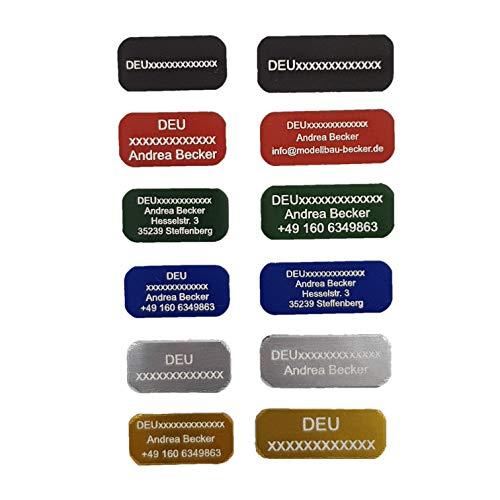 Andrea Becker Onlinehandel Adressschild / Drohnen Plakette / Drohnen Kennzeichen / Multicopter Kennzeichnung / Namensschild / Schilder mit hochwertiger Lasergravur (25x10mm, blau)