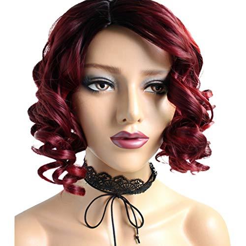 Mesdames Bobo Tête Boucles Vin Rouge Dégradé Haute Température Ensembles De Cheveux