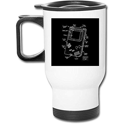 Gameboy Blueprint - Taza de café de vacío de doble pared, vaso de acero inoxidable, 16 oz con tapa a prueba de salpicaduras
