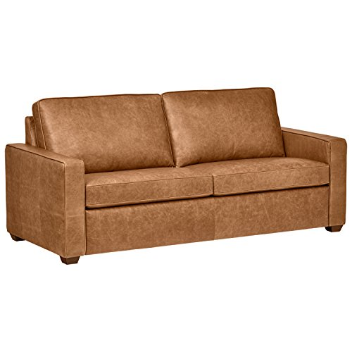 "Amazon Brand – Rivet Andrews Contemporary Top-Grain Leather Sofa, 82""W, Cognac"
