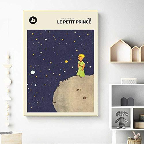 CAPTIVATE HEART Mur Art Toile Peinture Le Petit Prince Version Française Petit Livre Couverture Affiche Chambre d'enfants Décoration Murale 60x90 cm, sans Cadre