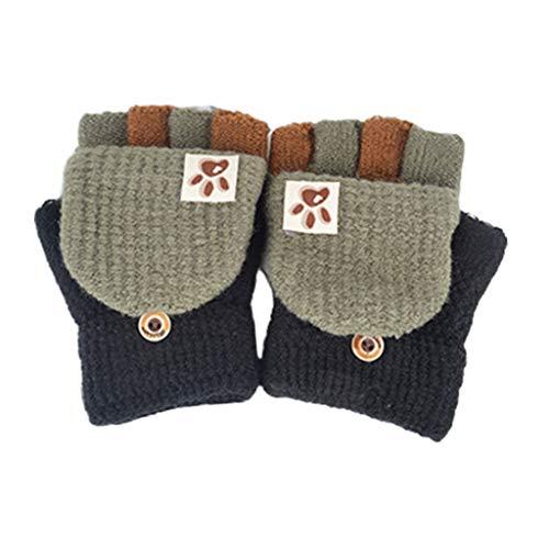 Qiman Guantes de punto para niños pequeños, para invierno, sin dedos, con botón, cubierta de solapa, multicolor, patchwork, descapotable, térmicos, cálidos