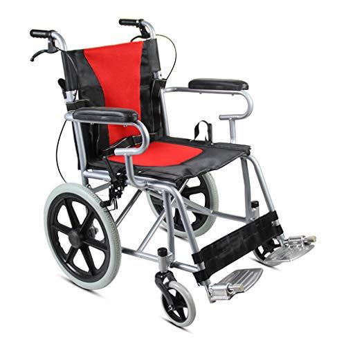 Stalen buisframe opvouwbare rolstoel, 42 cm brede stoel, opvouwbaar pedaal, rood/blauw, gehandicapt, scooter, veiligheidsgordel Compact rolstoel