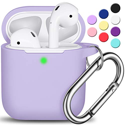 AirPods Case Cover with Keychain, Full Protective Silicone AirPods Accessories Skin Cover for Women Girl with Apple AirPods Wireless Charging Case,Front LED Visible-Pink Purple