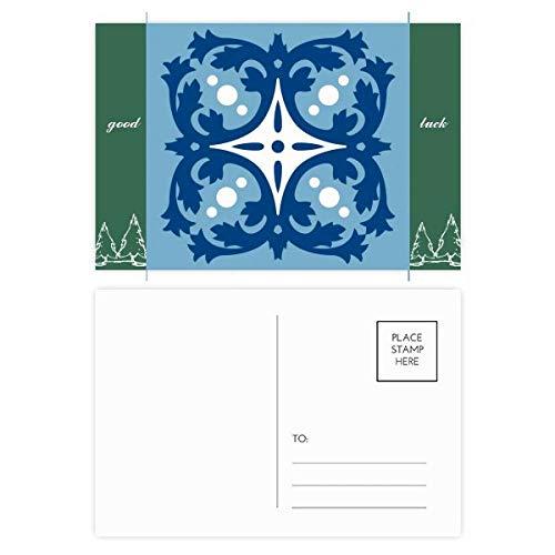 Talavera Deko-Postkarten-Set, Blumenmotiv, Blau, 20 Stück