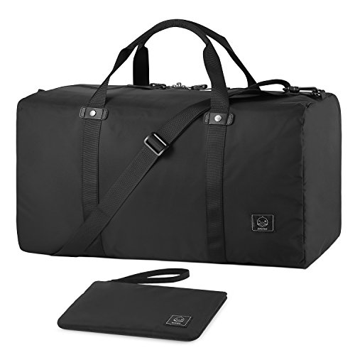 GAGAKU 45L Bolsa de Deporte Plegable Bolsa de Viaje Duffel Bag para Avión Cabina Impermeable Nylon L - Negro