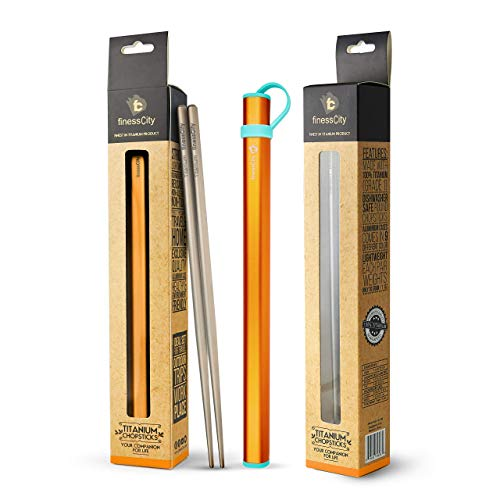 Titan Stäbchen Extra Stark Ultra Lightweight Professional (Ti), Stäbchen kommt mit exklusiver Qualität kostenlos Aluminiumgehäuse (Orange)