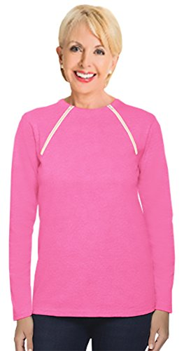Comfy Chemo Women's Long Sleeve Chemotherapy Port Zipper Shirts (Medium, Pink)