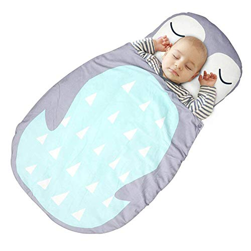 Toddler Nap Mat – Includes Pillow & Fleece Blanket – Childrens Sleeping Bag with Removable Pillow for Preschool, Daycare, and Sleepovers – 35' Blue Fox